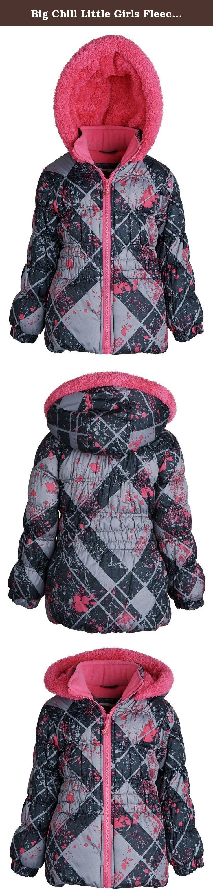 Big Chill Little Girls Fleece Lined Down Alternative Puffer Bubble Winter Jacket - Black (Size 4). Plush and puffy, this bubble coat by Big Chill comes to be first-rate in winter wear. Its thick filling, lined with wintry fleece, will lock out every spore of frigidness. Its bold colored print is appealing and tasty. Insulation and warmth are added by elasticized cuffs and ultra thick faux fur in the hood. Available in colors Black, White, and Navy in sizes 2 to 6X (for other size ranges...