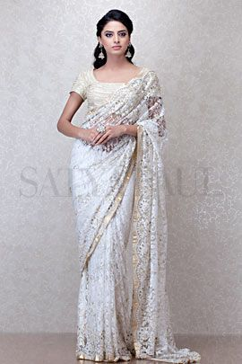 White wedding Ivory French Lace Saree A satya paul saree