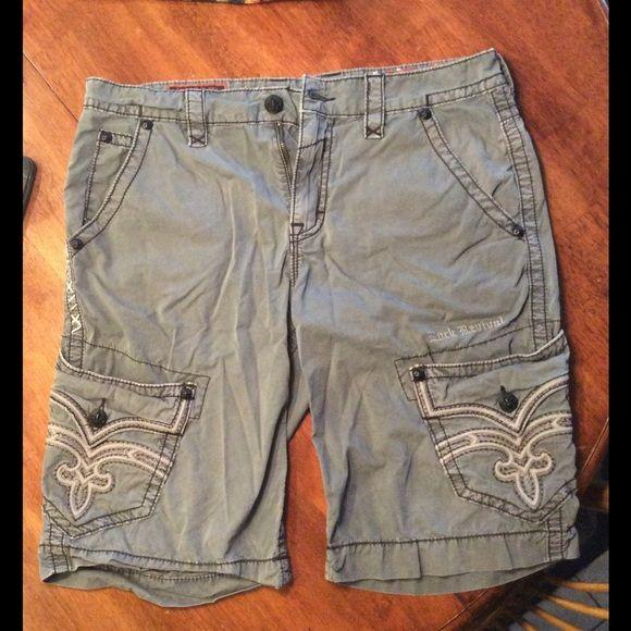 Men's rock revival shorts Men's gray rock revival shorts. Excellent condition. Style is classic. Size 34. Inseam is 24. Rock Revival Shorts Cargos