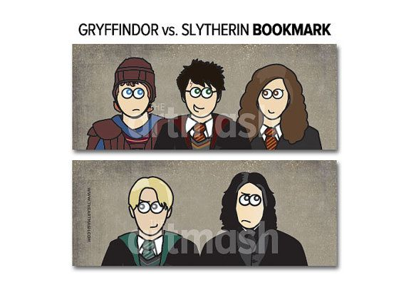 Harry Potter Bookmark  Gryffindor vs. Slytherin by theartmash, $2.50