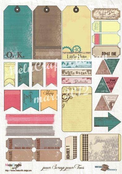 Etiquettes à imprimer offertes par la créatrice des papiers Melucrafts Design