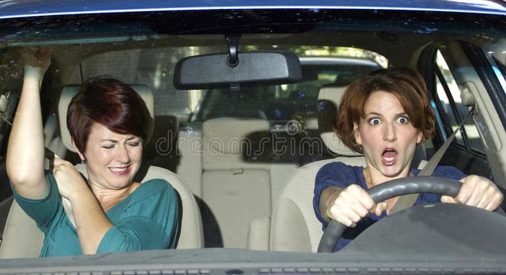 Crash reckless driver and scared female passenger in a