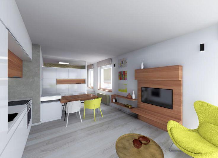 Interiér obývacího pokoje s ložnicí nad šatnou