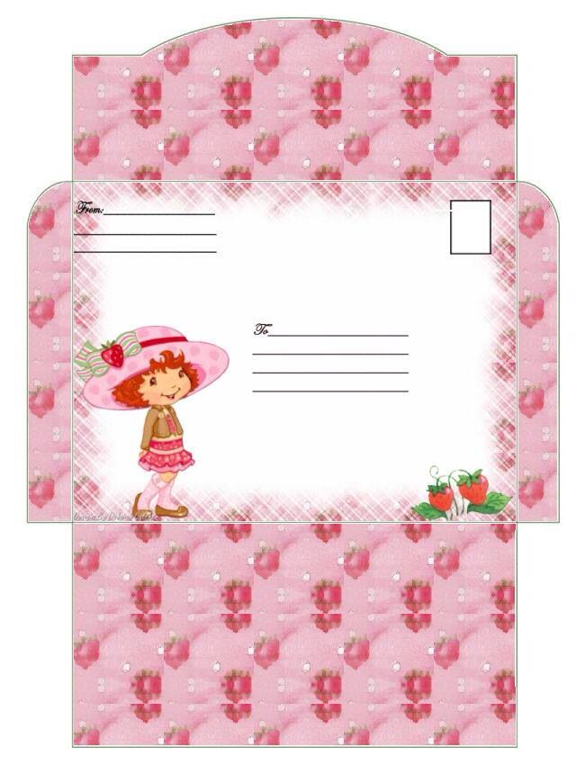 Envelope Pattern Strawberry Shortcake Party Paper Cards