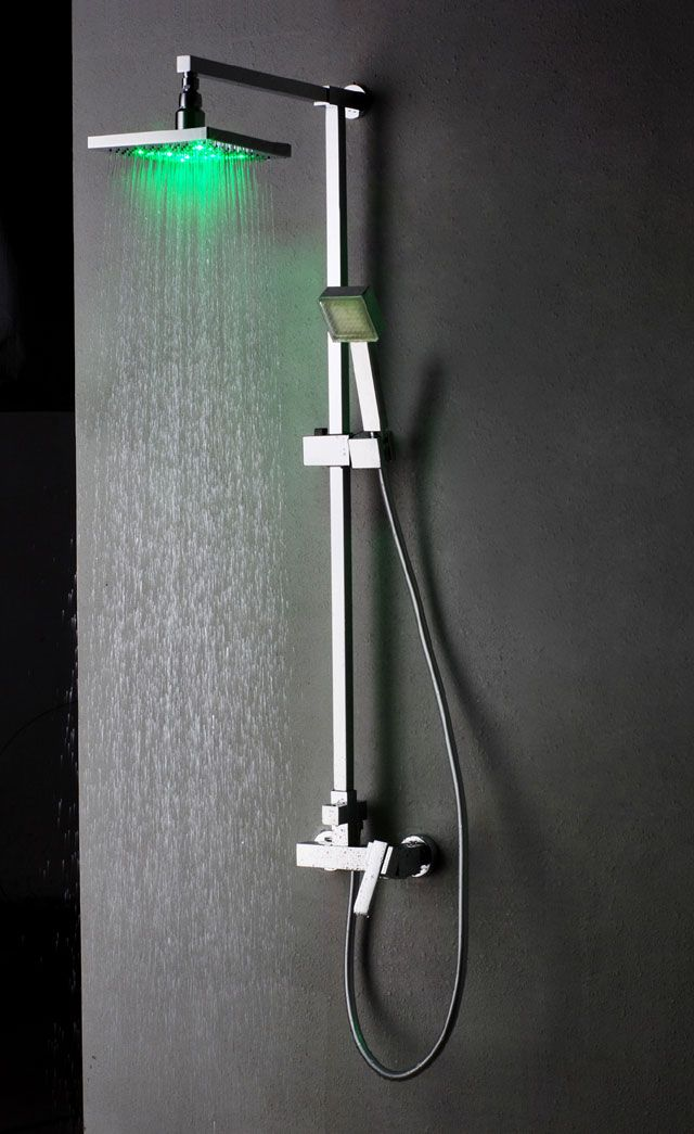 shower fixtures mixer shower with led light shower head and rainshowerd