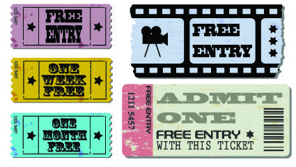 Tickets to the movie theater design elements vector 02