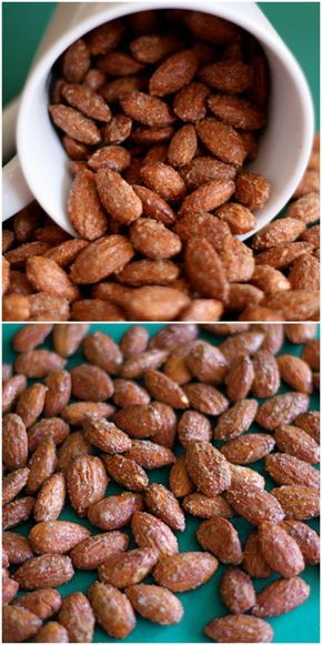 Cinnamon Roasted Almond Recipe on twopeasandtheirpod.com Great for holiday gift giving, snacking, and for holiday recipes!