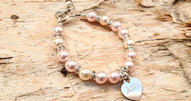 Crystal Heart Personalised Name Bracelet. Find it at www.giftedmemoriesjewellery.com.au