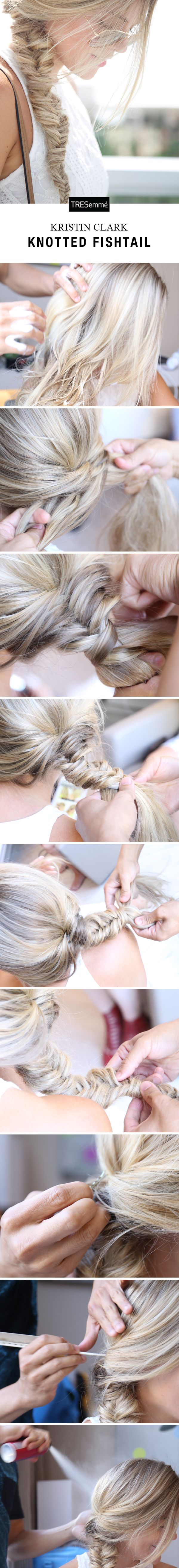 Blogger Kristin Clark hit up Miami Swim & teamed up with TRESemmé to create summery 'dos for breezy outfits & Miami heat. Try her knotted, boho twist on a fishtail: Start with TRES Perfectly (un)Done Sea Foam to create texture. Fishtail from the nape, stopping once or twice to wrap a section of hair around the braid. Secure the ends. Tug the braid to widen and pin any shorter layers back loosely. Finish with TRES Keratin Smooth Frizz-Free Hairspray for flyaway-free, summery shine.