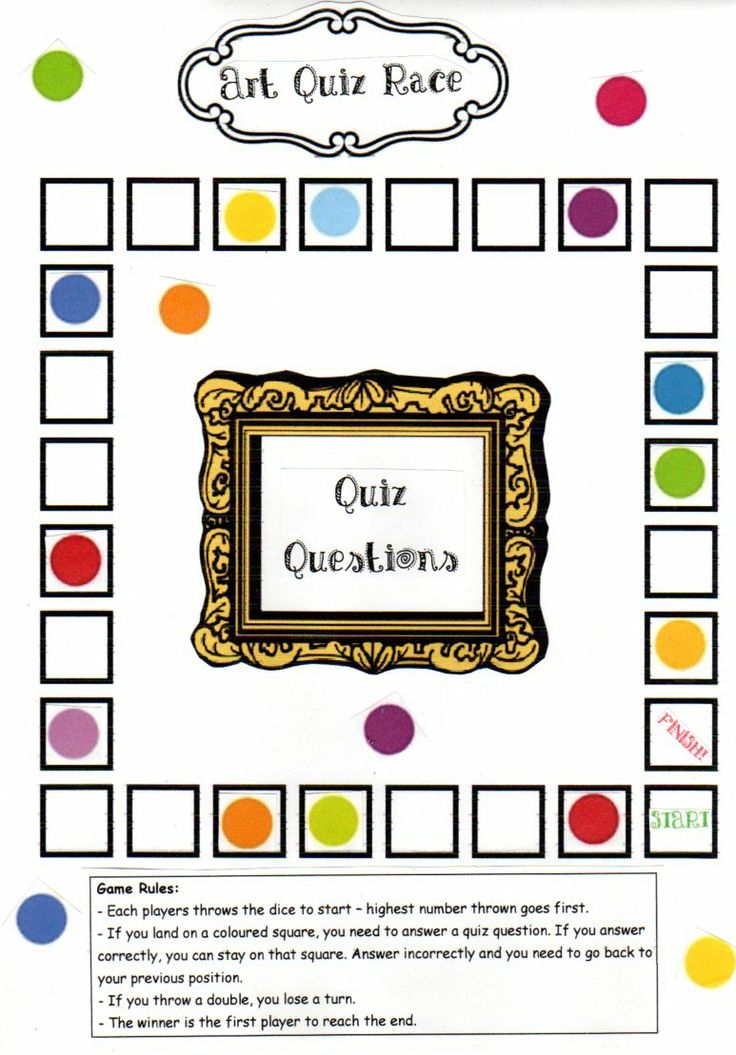 This Quiz Game board can be used with a set of quiz questions that you design - it could be based around a specific artist or art style, the elements of art or just general art knowledge.