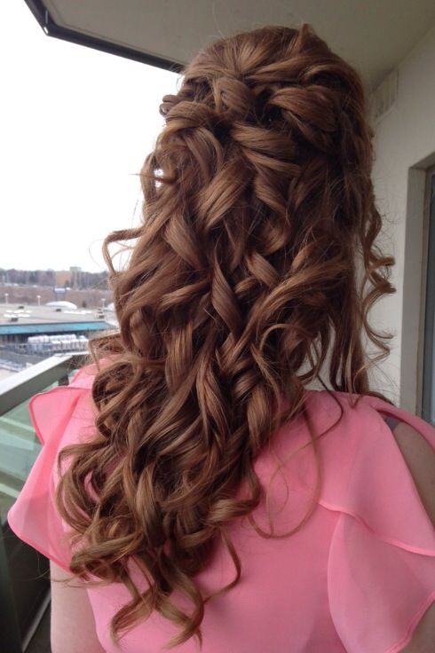 Half-up hairstyle, pretty curls, bridal shower hair, wedding hair by Soma Hair Design. This is our most pinned hairstyle! Thanks pinners!