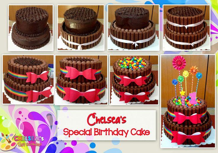 1st Birthday Party (Art Rainbow Party Theme)  Special Super Moist Ganache Chocolate Cake loaded with Break, Malteesers & M&M's Chocolates