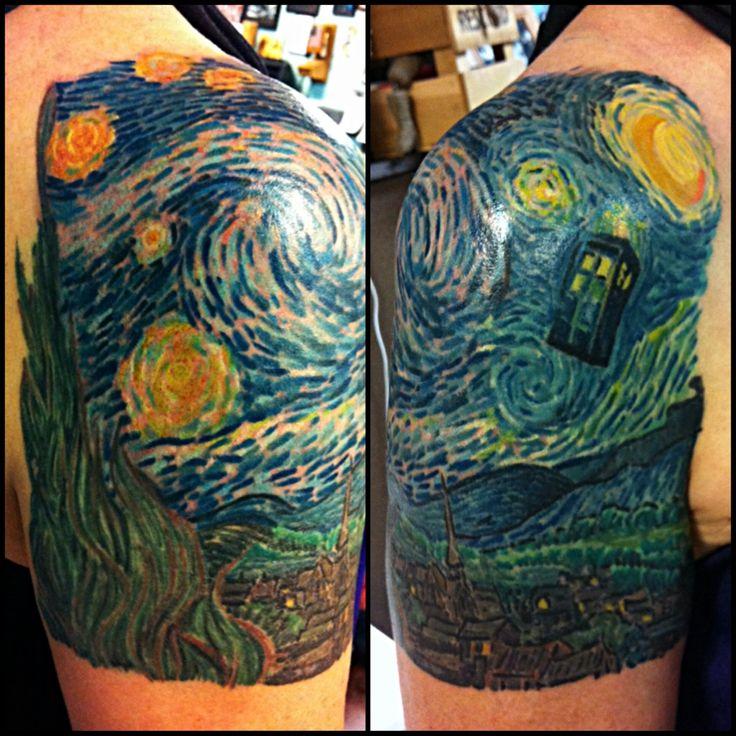 Van Gogh's Wibbly Wobbly Timey Wimey Starry Night. Das Frank, Timeless Tattoo. Las Vegas, NV.