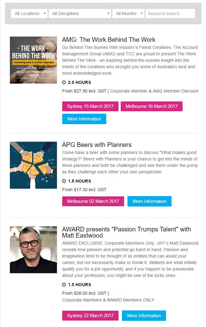 Upcoming course & event list - http://www.communicationscouncil.org.au/