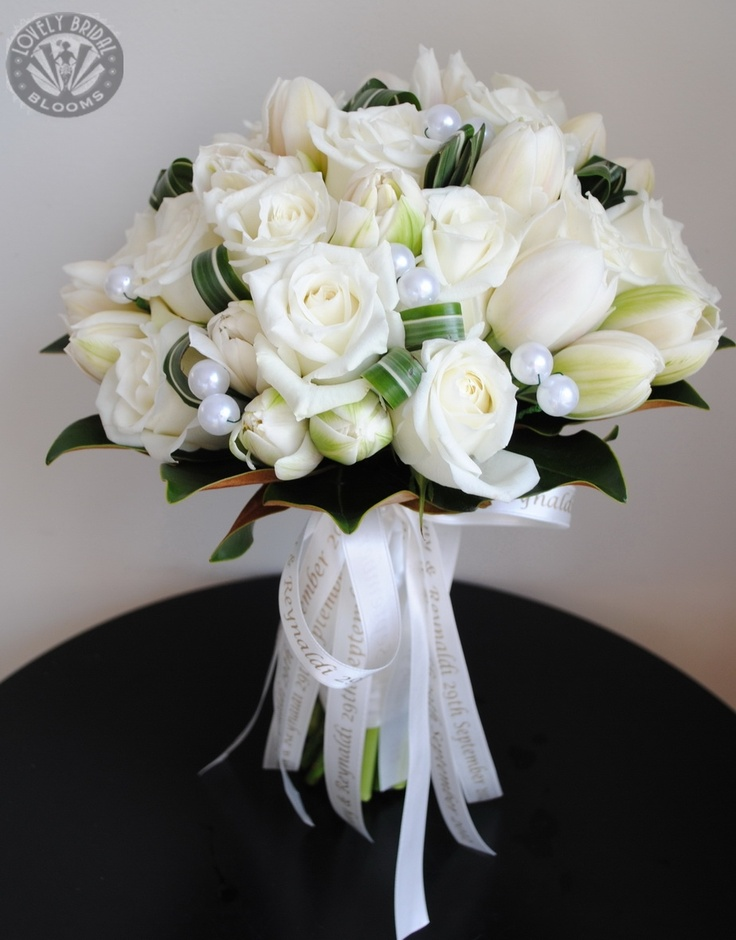 White Tulips Roses And Pearl Details