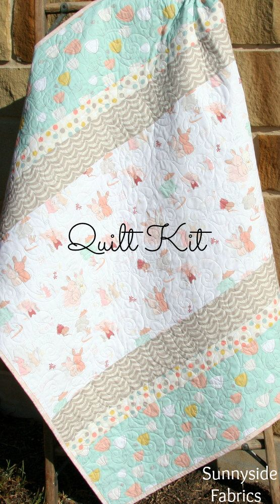 Baby Girl Quilt Kit, DIY Project Bunnies Tulips Littlest Art Gallery Fabrics Mint Green Coral Pink Gray Simple Easy Beginner Striped Pattern by SunnysideFabrics