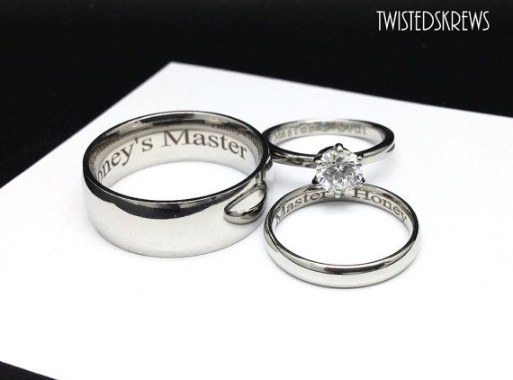 Mature Bdsm Engraved Couples 3 Piece Wedding Rings Set Dom
