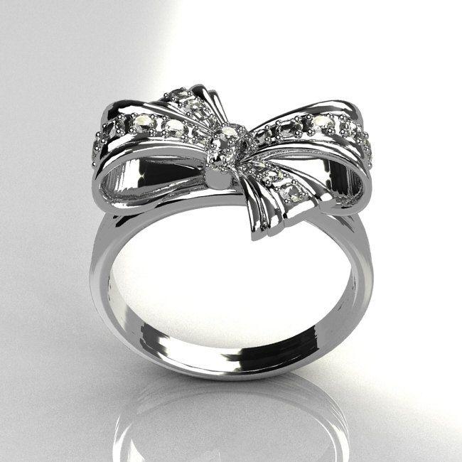 Tiffany Style 950 Platinum Pave Diamond Ribbon Ring R92-PLATWGD. $2,099.00, via Etsy.: Tiffany And Co, Style, Bows, Bow Rings, Tiffany S Bow, Tiffanys Bow, Bling Bling, Jewelry 3