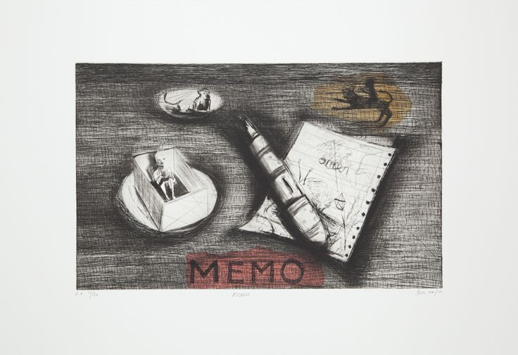 Memo (Version B) 2012. Edition of 20 (available). Chine Collé, Drypoint, Etching