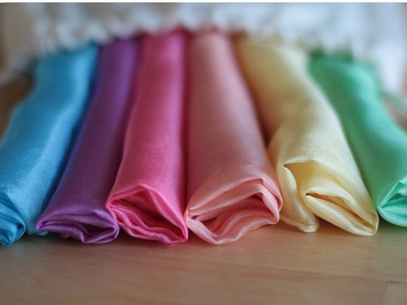 """Set of 6 Silk scarves in pastel colors - 25"""" x 25"""" - waldorf toy - in cotton sack"""