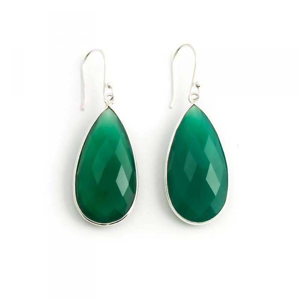 Groene oorbellen chalcedoon