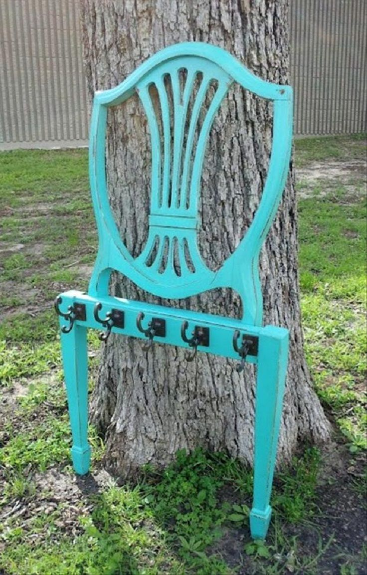 #DIY #vintage #chair coat rack