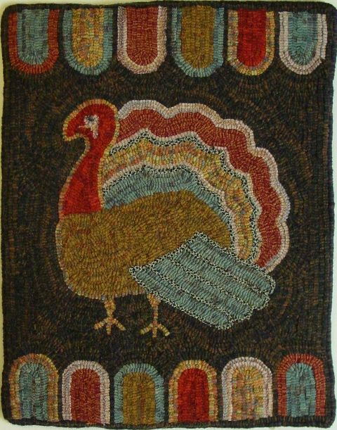 Turkey and Lamb's Tongues Rug Hooking