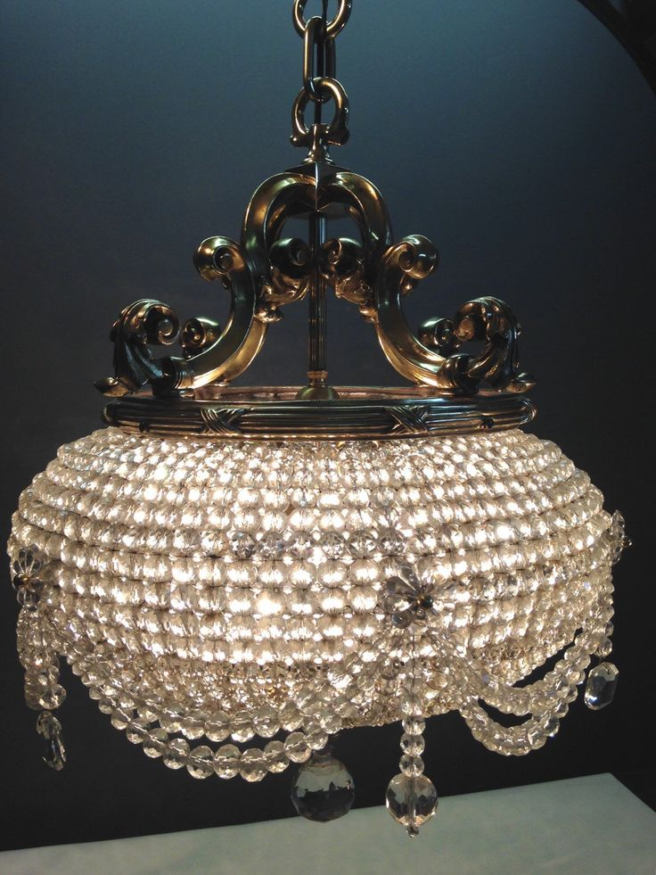Ont Red Turn Of The Century Beaux Arts Victorian Cut Crystal And Brass Bead Basket Chandelier