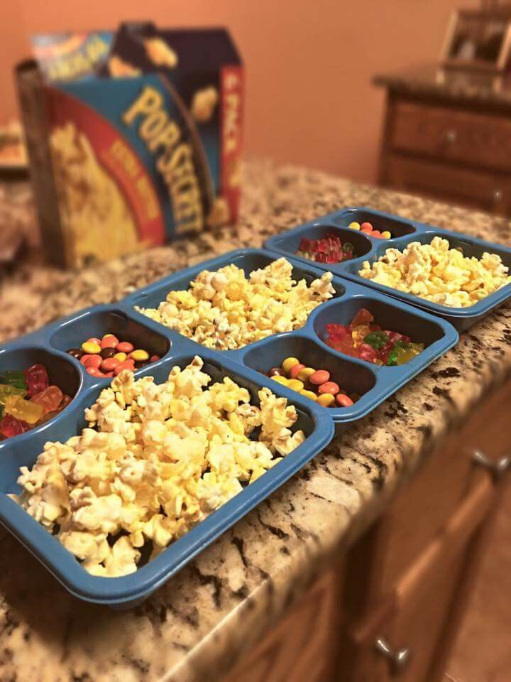 Recycle Kid Cuisine trays and use them as movie night snack trays