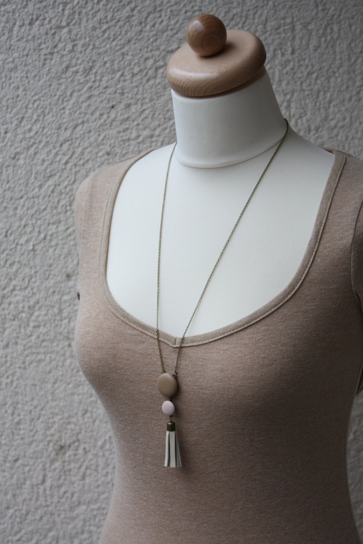 Leather button necklace - DUO long style. $25.00, via Etsy.
