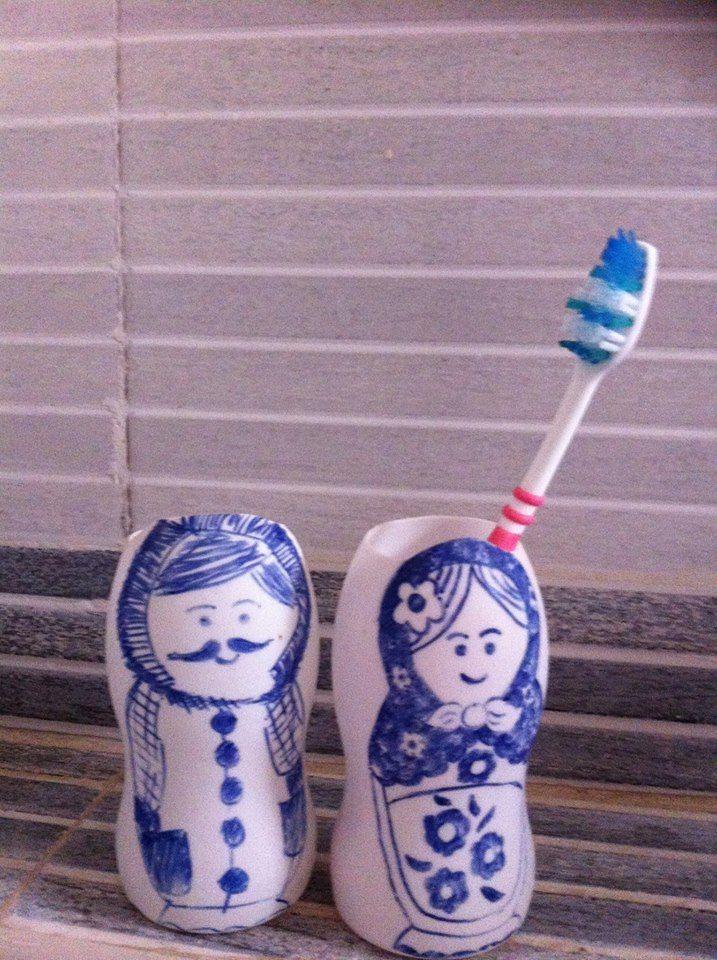 Mr & Mrs. Tooth Brush - reused plastic bottles #ThinkCreateCraft: