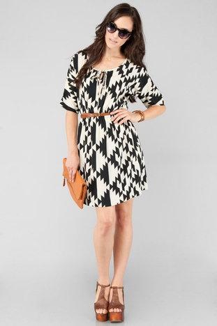 Zulu Dress in Black and Cream $48 at www.tobi.com