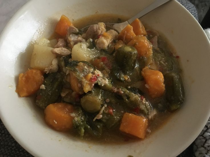Sweet patato soup with chicken and okra