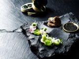 Kokkeriet Michelin star restaurant Copenhagen Denmark Caviar, cabbage, buckwheat and watercress modern Danish starter fish dish