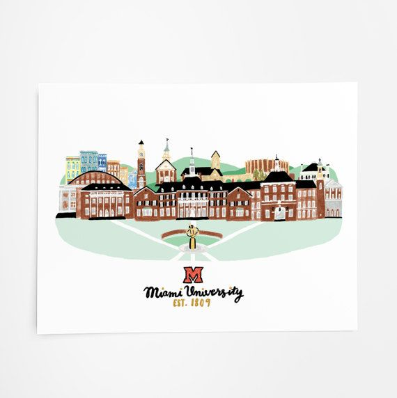 Miami University Art Print 8x10 by nicolecicak on Etsy
