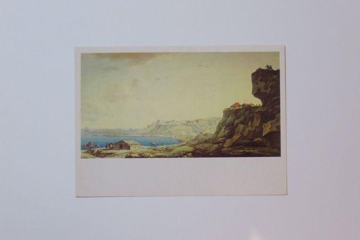 Soviet vintage postcard. Odessa. Pushkin. Russian poet. Art Illustration. Russian art. Russian vintage Russian watercolor Russain literature