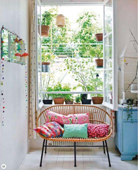 open window, green plants