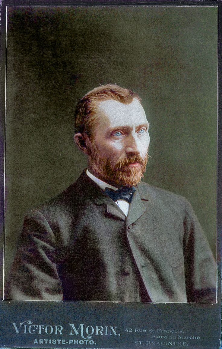 Photograph of Vincent Van Gogh. Cleaned up and colorized in Photoshop. This image is my Rosetta Stone when studying his self-portraits.