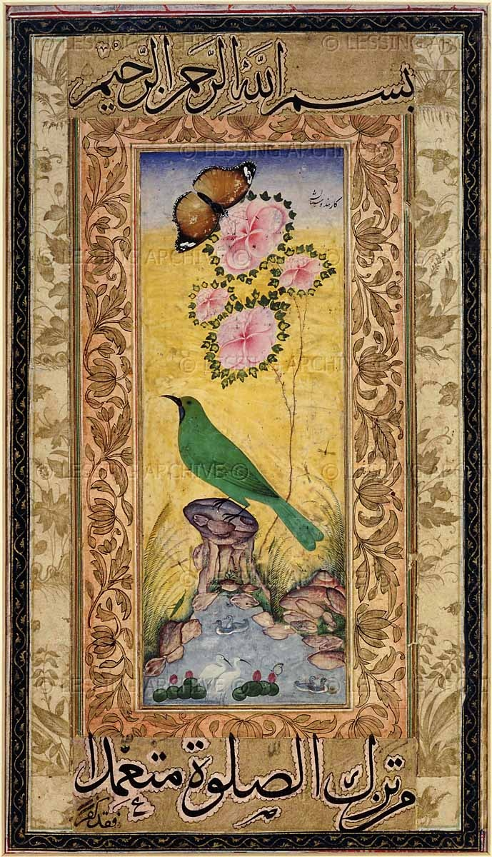 Ustad Mansur.  Study of a Gold-mantled Chloropsis. Ustad Mansur was a 17th century Mughal painter who specialised in depicting plants and animals. Mughal miniature painting, 1640.