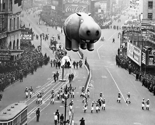 Hippo Balloon Floating at the Thanksgiving Day Parade, Manhattan, 21 Nov 1940.