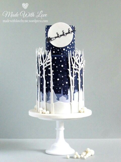 Christmas cake winter wonderland navy with snow forest