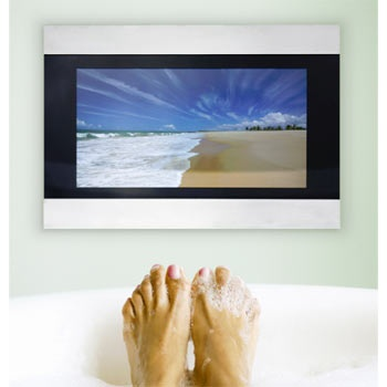 I so want this..a #Waterproof bathroom tv,,a nice way to relax while bathing.