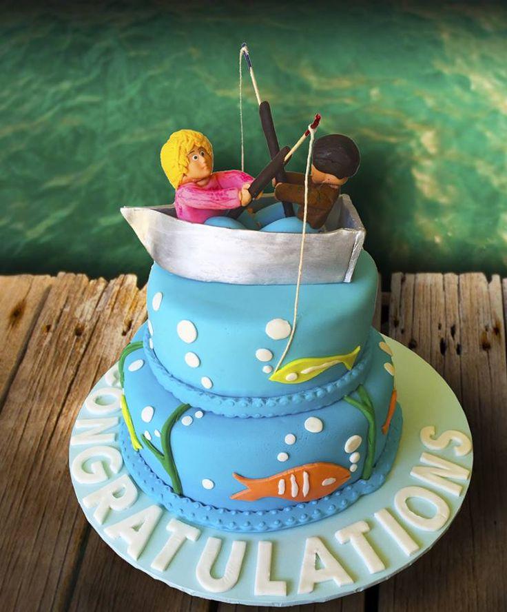 Fishing Themed Engagement Cake.