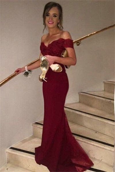 Burgundy Off Shoulder Lace and Tulle Mermaid Celebrity Prom Dresses pst0210