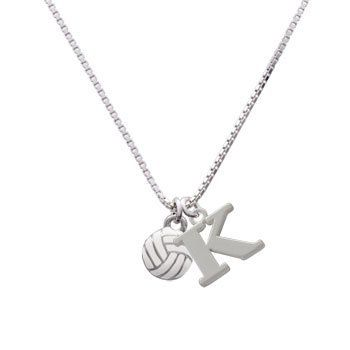 Volleyball (Mini) Initial Charm Necklace| Large Block Letter| K Delight Jewelry. $29.99. Necklace is designed and made to order in the U.S.A. with parts from Italy and China.. Necklace is gift wrapped.. Hand Painted Charms. Silver Plated Initial Charm Necklace