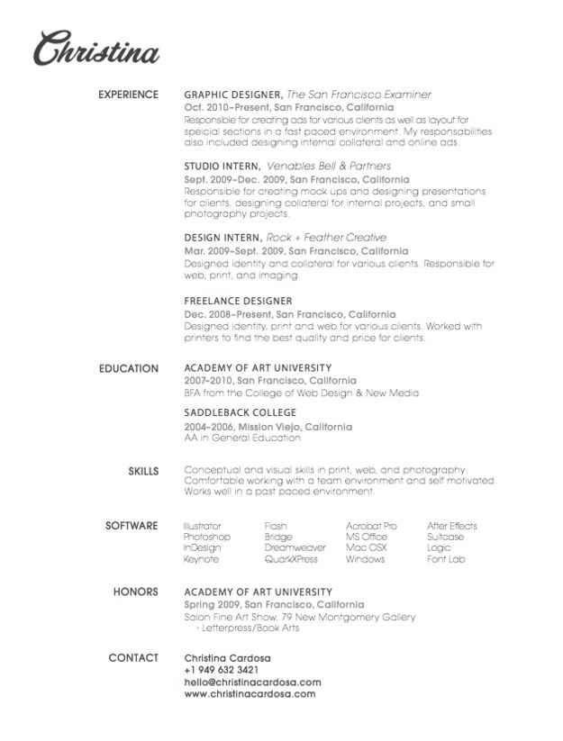 simple graphic design resume