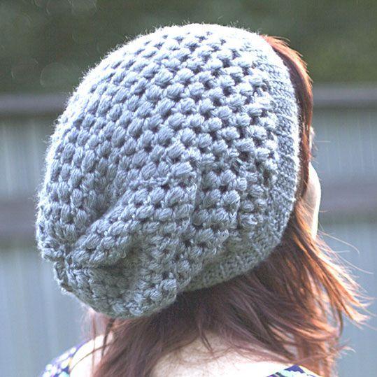 Puff Stitch Slouchy Beanie Crochet Pattern via Hopeful Honey