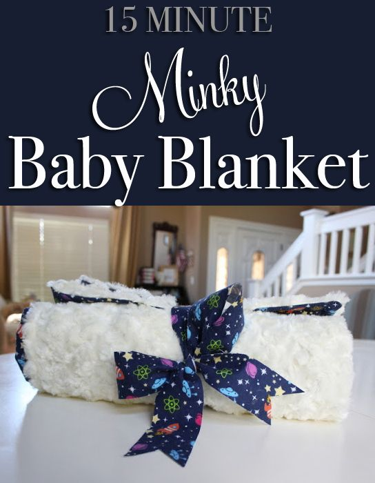 How to create a simple minky lined baby blanket in about 15 minutes. A great baby shower gift idea!