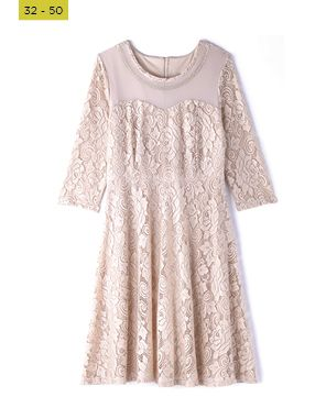 gold fit and flare lace dress