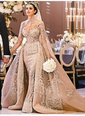 USD$459.00 – Luxury Long Sleeves Ball Gown Wedding Dresses | High Neck Over Skir…